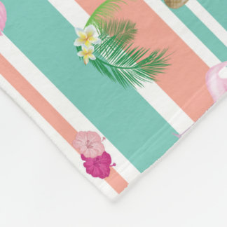 Tropical Flamingo Large Fleece Blanket