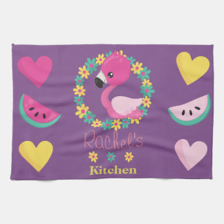 Tropical Flamingo purple pink and yellow hearts Kitchen Towel