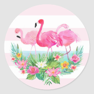 Tropical Flamingo Watercolor Pink Favour Sticker