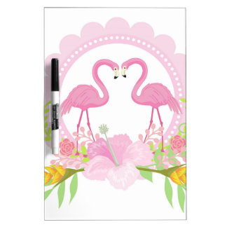 TROPICAL FLAMINGO with Hibiscus  flower Dry Erase Board