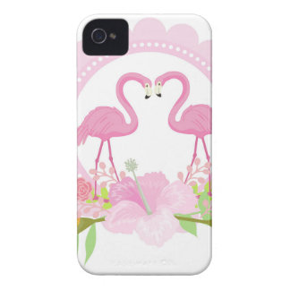 TROPICAL FLAMINGO with Hibiscus  flower iPhone 4 Cover