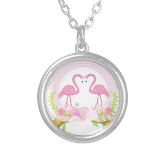 TROPICAL FLAMINGO with Hibiscus  flower Silver Plated Necklace