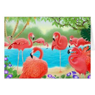 Tropical Flamingos Card