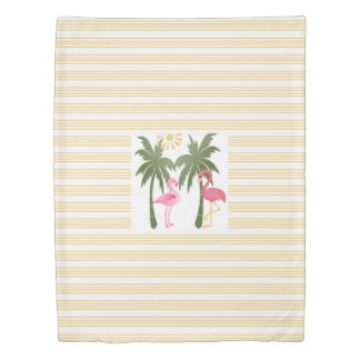 Tropical flamingos on yellow pinstripes duvet cover