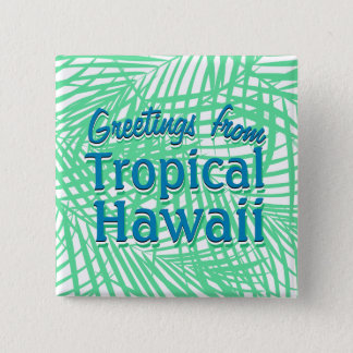 Tropical flat green leaves 2 inch square button