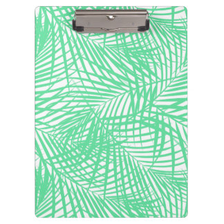 Tropical flat green leaves clipboard