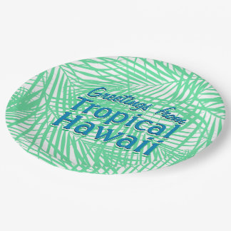 Tropical flat green leaves paper plate