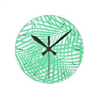 Tropical flat green leaves wall clock