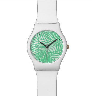 Tropical flat green leaves wristwatch