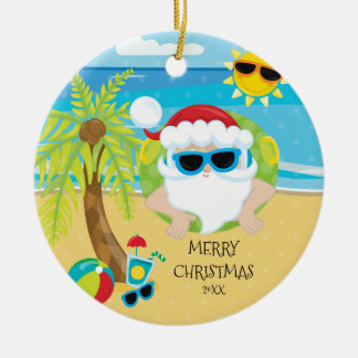 Tropical Floating Santa Hawaiian Christmas Round Ceramic Ornament