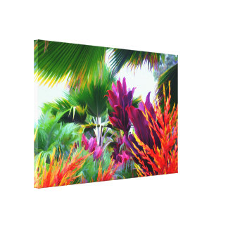 Tropical Flora Fantasy Wrapped Canvas