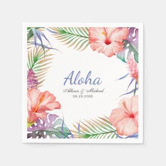 Tropical Floral Aloha Luau Style Disposable Napkin