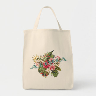 Tropical Floral Aloha Tote Bag