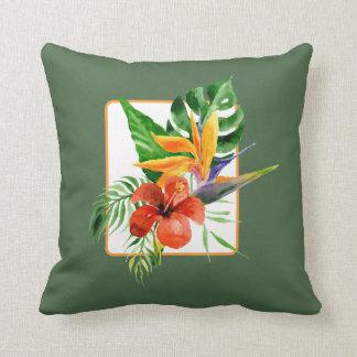 Tropical Floral Bird of Paradise Watercolor Pillow