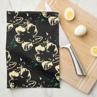 Tropical floral black, cream, green kitchen towel