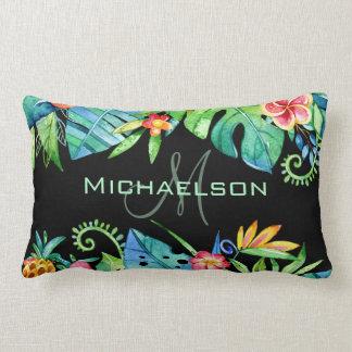 Tropical Floral Black Custom Lumbar Pillow
