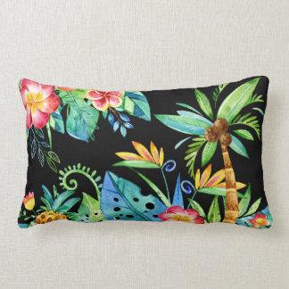 Tropical Floral Black Lumbar Pillow