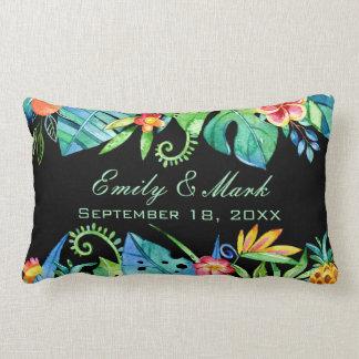 Tropical Floral Black Wedding Custom Lumbar Pillow