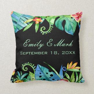 Tropical Floral Black Wedding Custom Throw Pillow