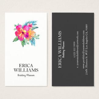Tropical Floral Bouquet Wedding Planner Business Card