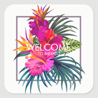 Tropical Floral Bouquet Welcome Sticker