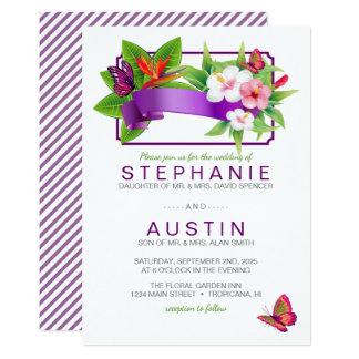 Tropical Floral Butterfly Wedding Invitation