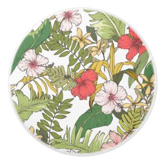 Tropical Floral Ceramic Knob