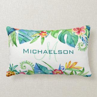 Tropical Floral Custom Lumbar Pillow