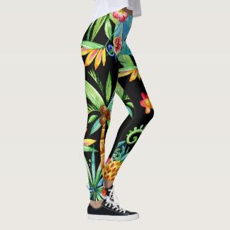 Tropical Floral Exotic 2 Black Leggings