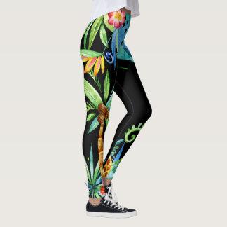 Tropical Floral Exotic Black Leggings