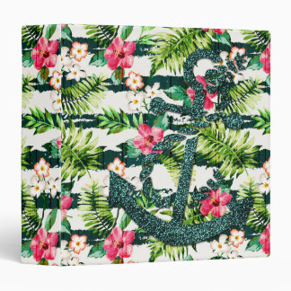 Tropical Floral Faux Glitter Anchor Nautical 3 Ring Binder