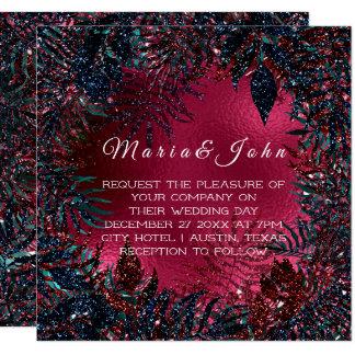 Tropical Floral Fern Leafs Framed Burgundy BluNavy Card