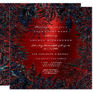 Tropical Floral Fern Leafs Framed Metal Red Navy Card