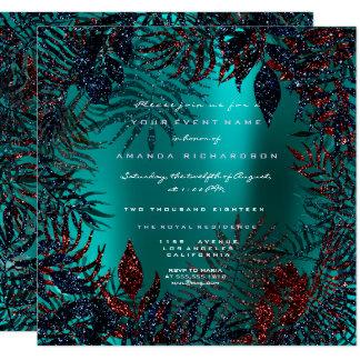 Tropical Floral Fern Leafs Framed Metal Teal Navy Card