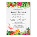 Tropical Floral Flamingo Luau | Sweet 16 Birthday Card