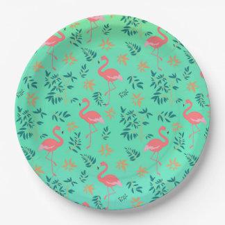 Tropical Floral Flamingo Paper Plate