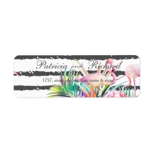 Tropical floral flamingos stripes wedding design return address label