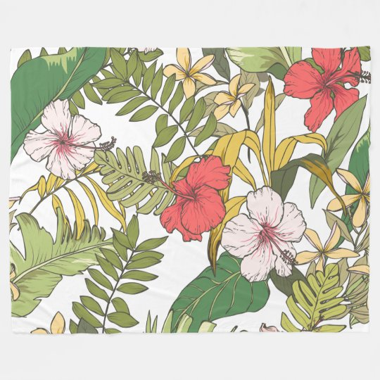 Tropical Floral Fleece Blanket