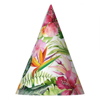 Tropical Floral Flowers Wild Jungle Birthday Party Party Hat