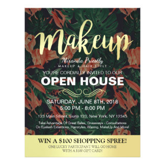 Tropical Floral Gold Script Salon Open House Flyer