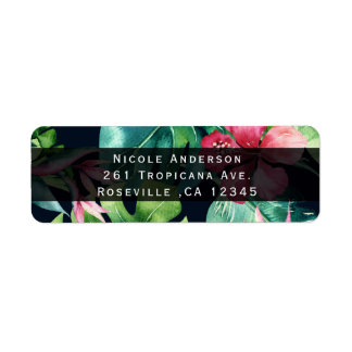 Tropical Floral Hibiscus Leaves Summer Invitation Return Address Label