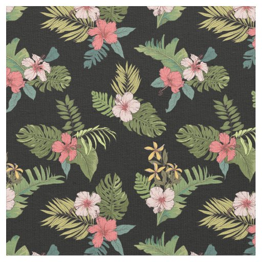 Tropical Floral Hibiscus On Black Fabric
