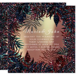 Tropical Floral Leafs Skinny Garden Burgundy Navy Card