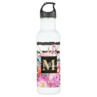 tropical floral leaves and flamingos stripes 710 ml water bottle