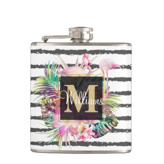 tropical floral leaves and flamingos stripes hip flask
