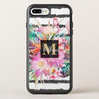 tropical floral leaves and flamingos stripes OtterBox symmetry iPhone 8 plus/7 plus case