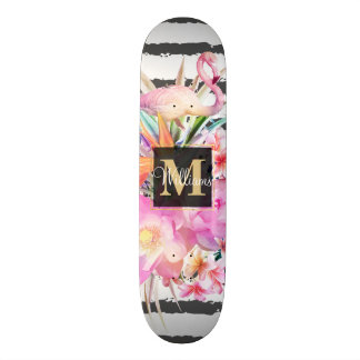 tropical floral leaves and flamingos stripes skateboard deck