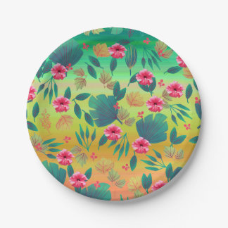 Tropical Floral Leaves Paper Plate