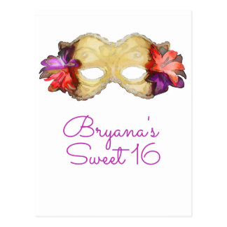 Tropical Floral Masquerade Mask Save the Date Postcard