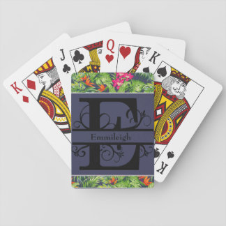 Tropical Floral Navy Blue Monogram E Playing Cards